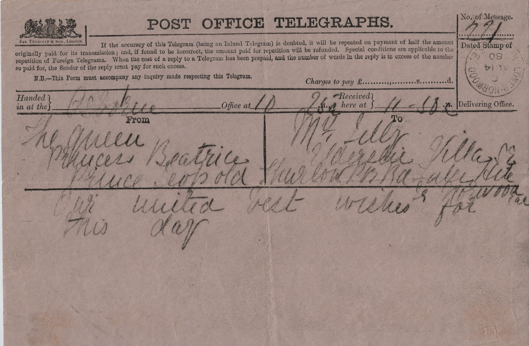 1880 August 14th telegram from Queen, Princess Beatrice and Prince Leopold to MDL on her birthday