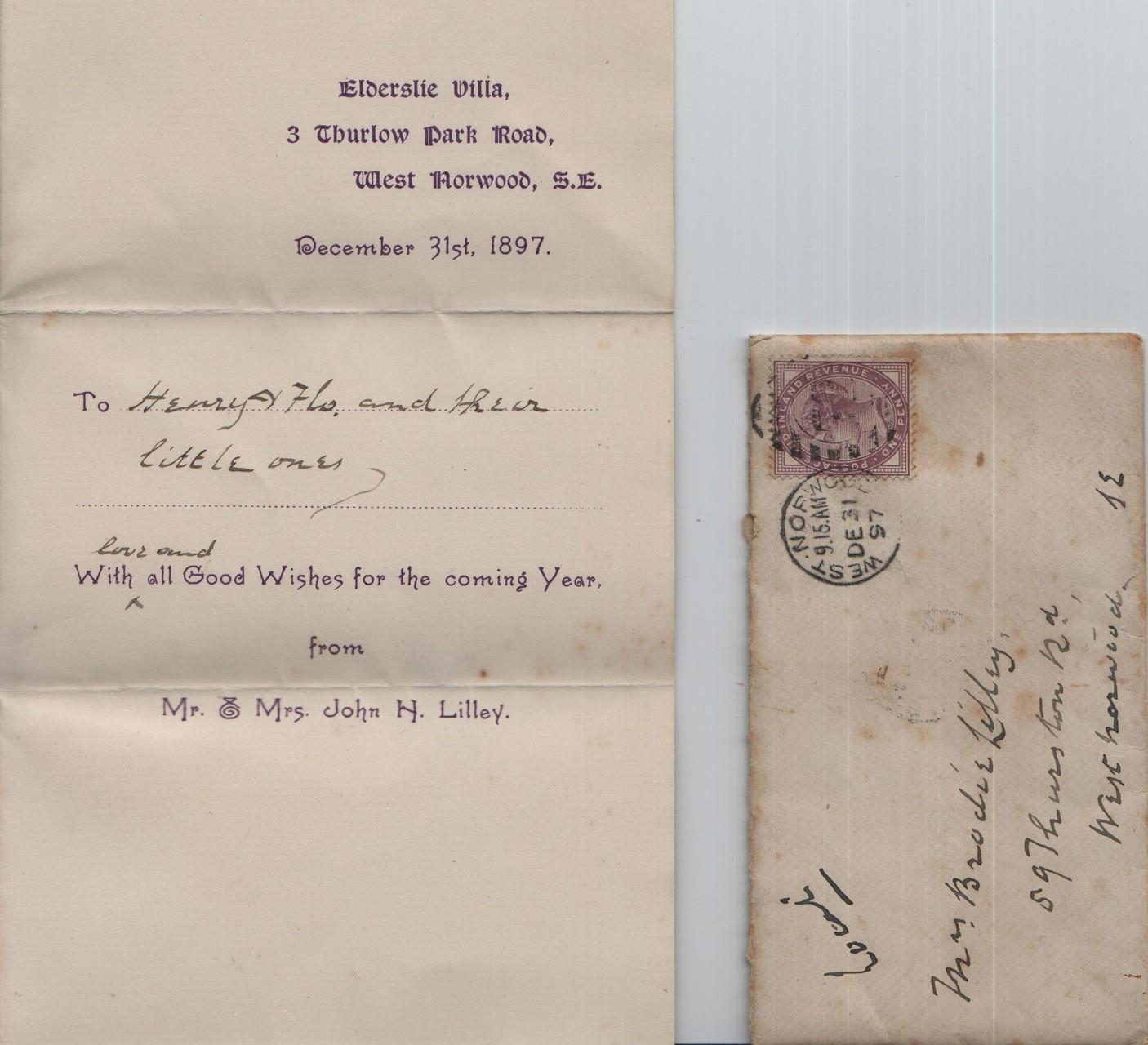1897 December 31st JHL to HRBL