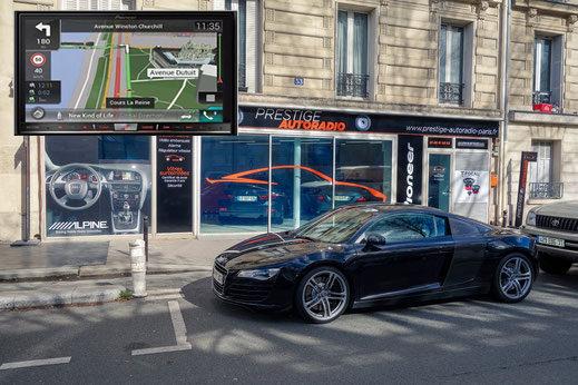 Montage d'un CarPlay et d'une caméra de recul sur Audi R8 par prestige Autoradio Paris