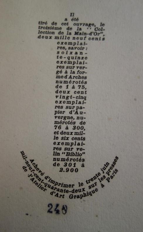 Pierre MAC ORLAN, L'Ancre de miséricorde, 1942, gravures d'André COLLOT, livre rare