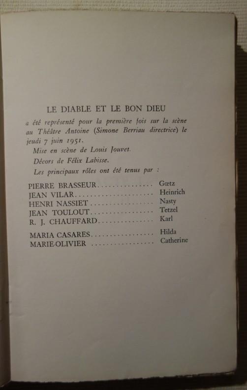 Jean-Paul Sartre, Le Diable et le Bon Dieu, livre rare, édition originale