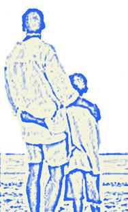 padre che scruta il mare insieme al figlio piccolo
