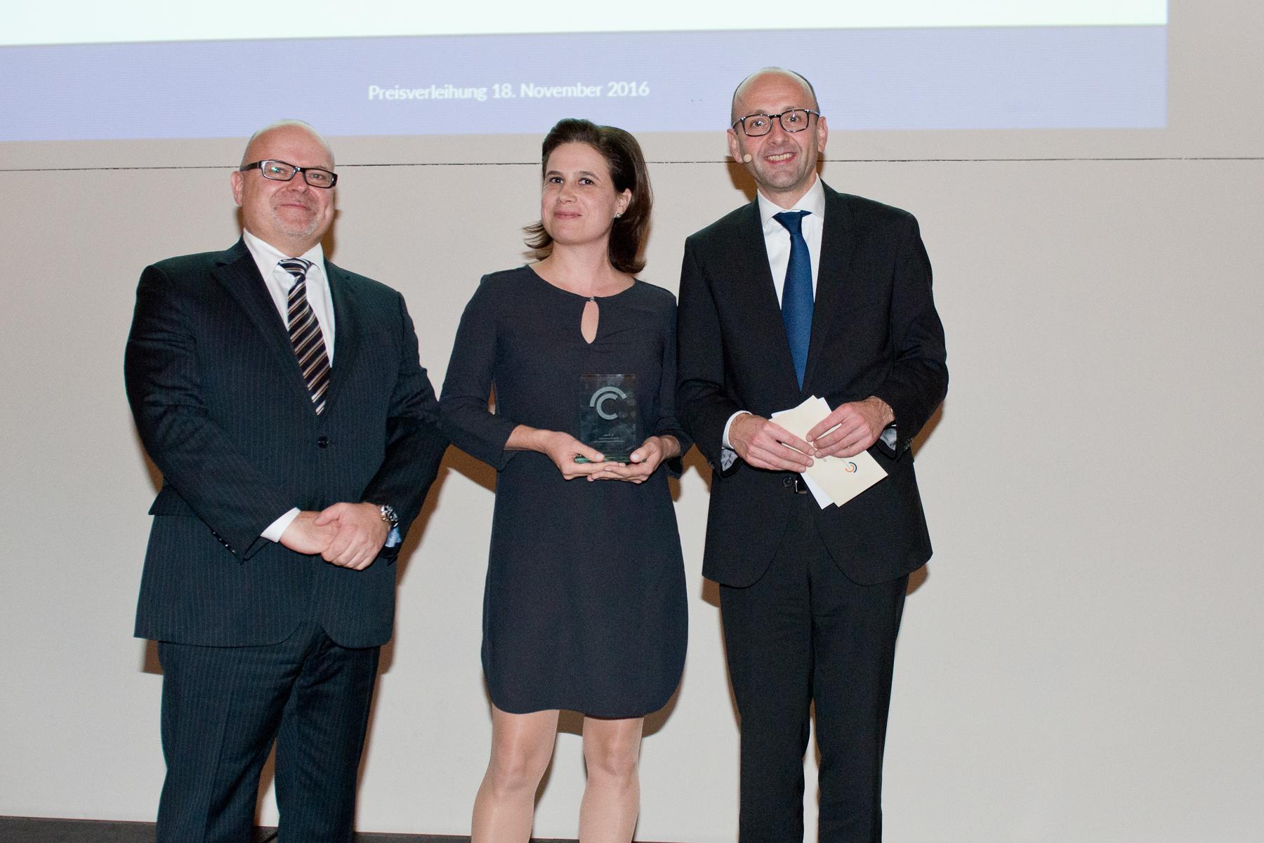 Dr Michael Jaffé, Christina Hiptmayr (3rd prize), Prof. Lucas F. Flöther