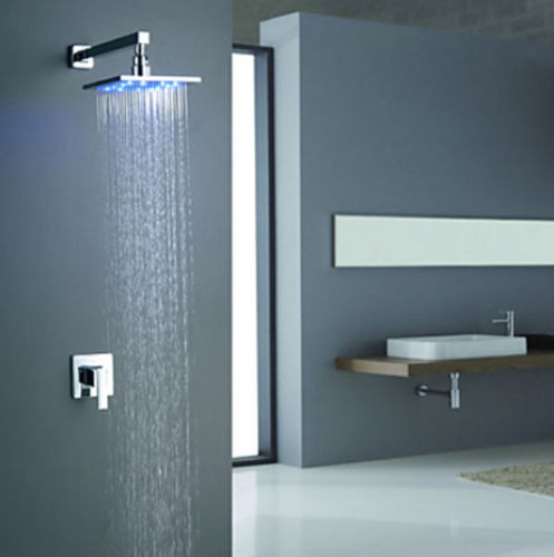 Inch Chrome Modern Wall Mount Square LED Shower Faucet Set - Refinish chrome bathroom fixtures