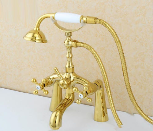 Gold Plated Bathroom Deck Mount Traditional Tub Faucet With Ceramic Telephone Handshower Mixer