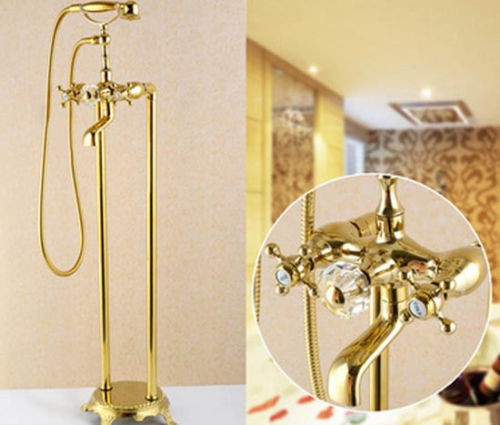 Gold Brass Details About Free Floor Standing Bathroom Tub Faucet With Ceramic Handshower