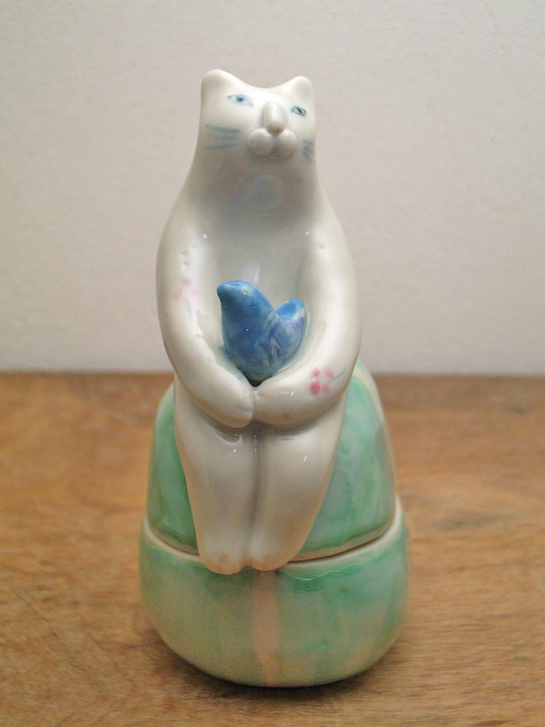 蓋物 青い鳥とネコ