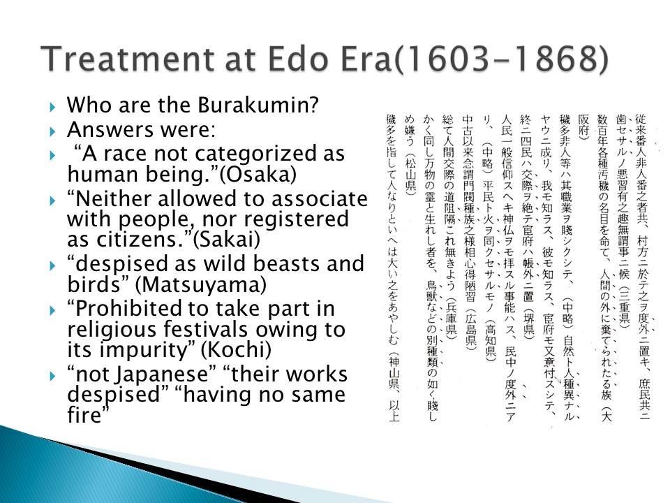 Behandlung in der Edo Zeit (1603-1868)