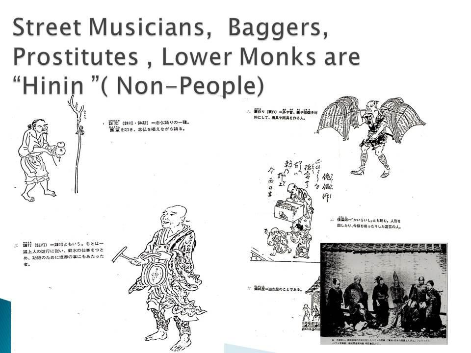 """Straßenmusiker, Bettler und Bettelmönche, Prostituierte waren """"Hinin""""  (Unmenschen)"""