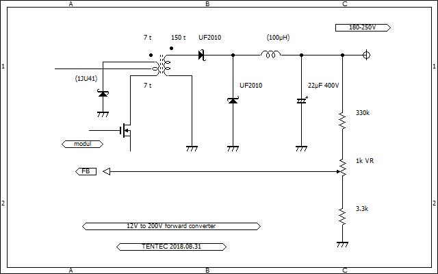 Forward Converter  12V to 180-200-250V Schematic