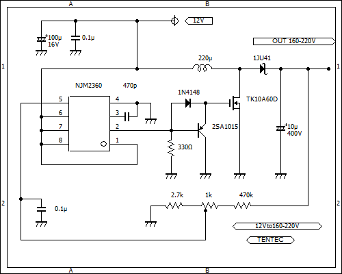 nixie tube power supply schematic MC34063/NJM2360 12Vto160-220V 回路図