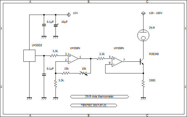 IN-9  bargraph nixie tube analog thermometer schematic IN-9 バーグラフニキシー管 温度計 回路図
