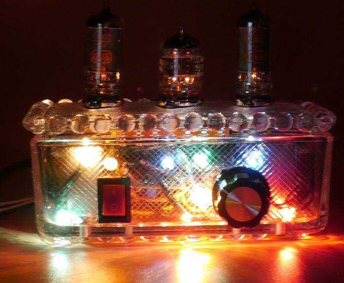 6AU6 Glass AMP - Xmas Version small stereo  tube amp 6AU6魅惑の真空管ミニアンプ- 小型真空管アンプ自作