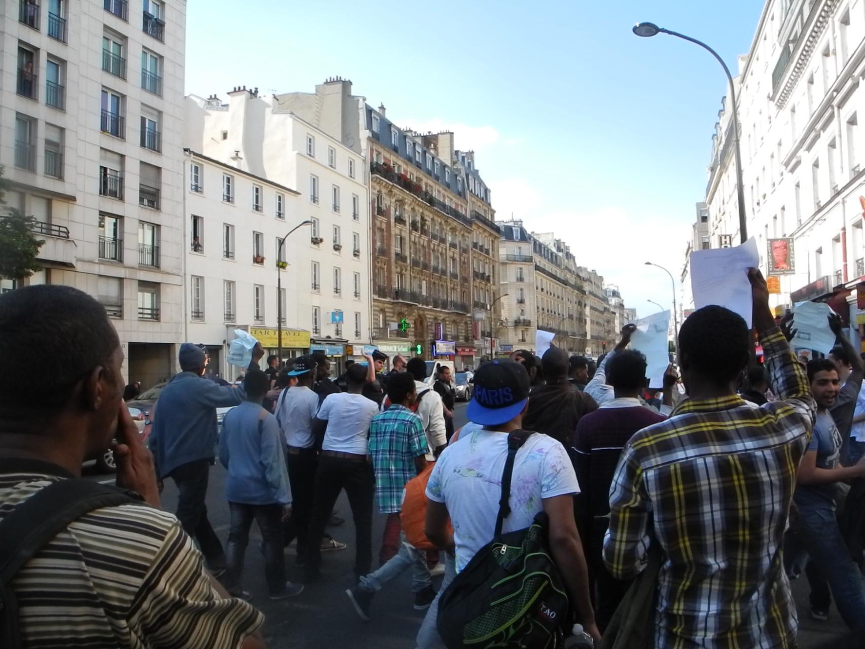Les migrants dans la rue Marx Dormoy, vendredi 5 juin
