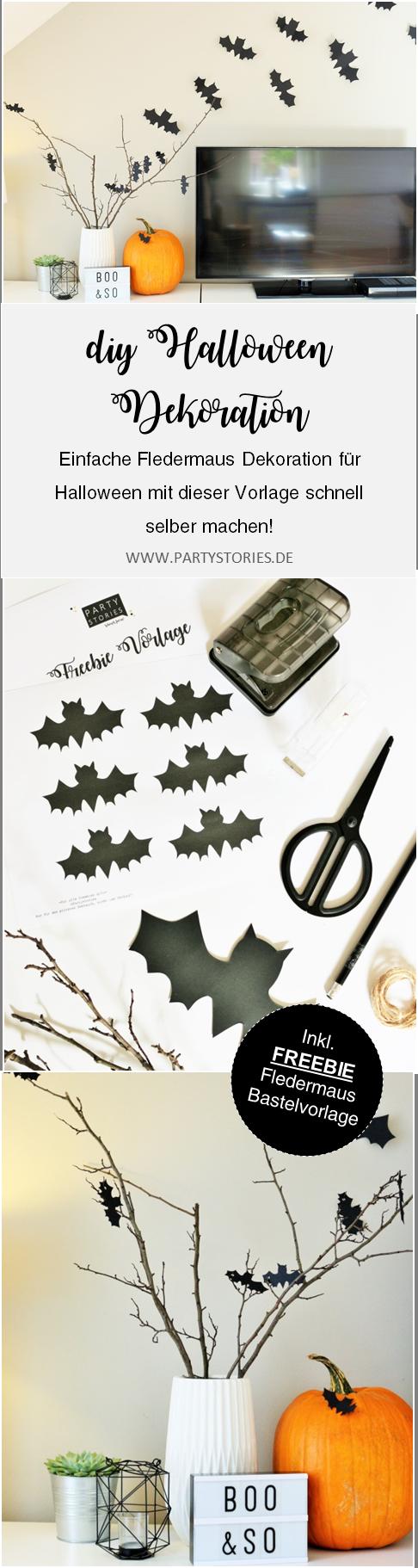 Bild: Eine schnelle last-minute Idee für Halloween Dekoration: Mit dieser Freebie Bastelvorlage Fledermaus Halloween Deko einfach selber machen! Gefunden auf www.partystories.de