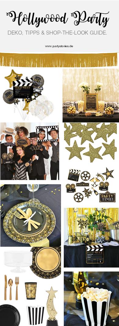 Ideen für eine Hollywood Motto Party zum Geburtstag oder im Great Gatsby Stil für Silvester, Hollywood Dekoration Ideen für eine Mottoparty von Partystories.de mit Party.de // #Hollywoodparty #Silvesterparty #Geburtstagsparty #GreatGatsbyparty
