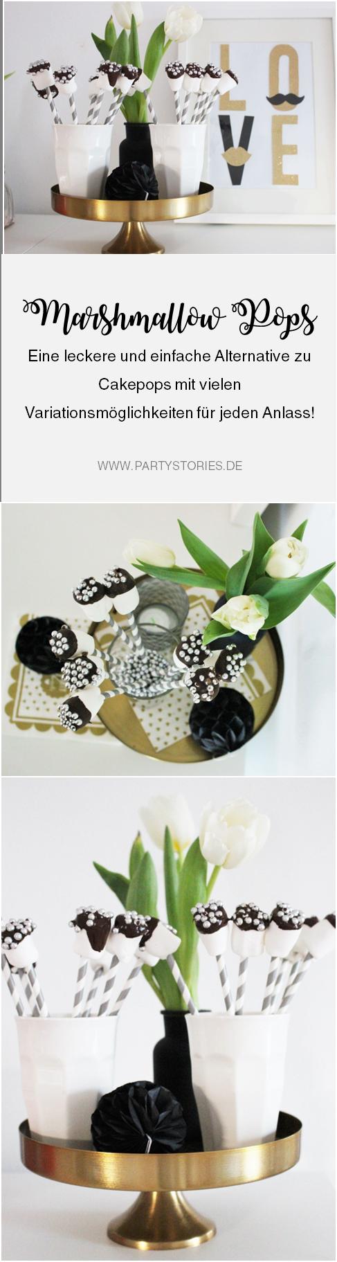 Bild: Rezept für Marshmallow Pops, eine Alternative Idee zu CakePops, einfach und lecker für den Geburtstag, Karneval, eine Babyparty und jede andere Party: gefunden auf www.partystories.de