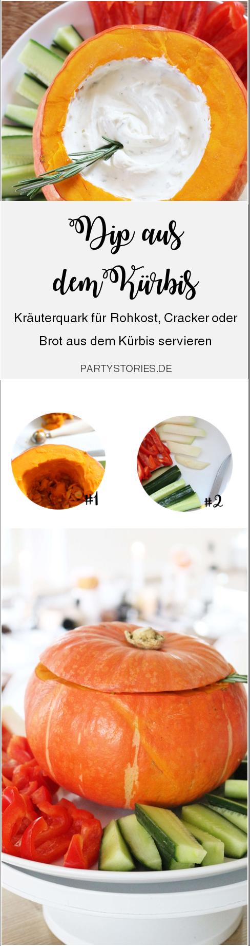 Bild: Rezept für Dip aus dem Kürbis als Partyfood - perfekt für Rohkost, Cracker oder Brot, gefunden auf Partystories.de