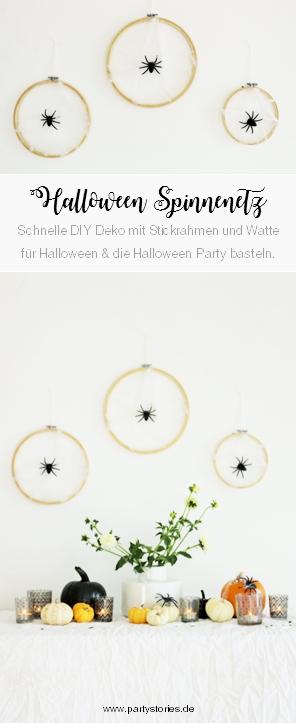 DIY Halloween Deko Idee – mit dieser Anleitung einfach ein Spinnennetz als Halloween Party Deko aus Stickrahmen und Watter selber machen, gefunden auf www.partystories.de // #Halloween #Halloweendeko #diyHalloween #HalloweenParty #Partydeko