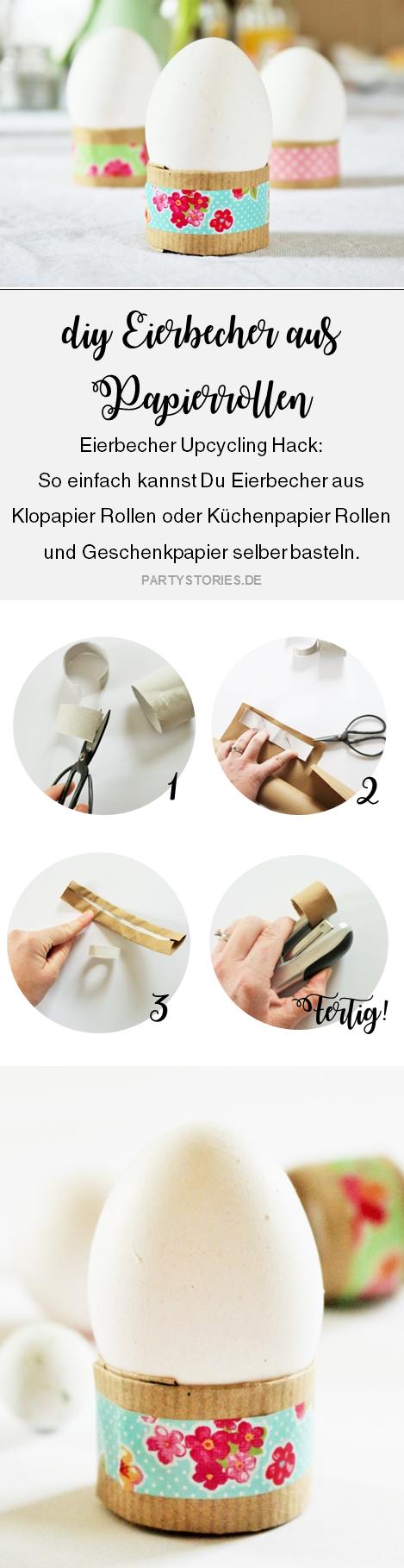 Bild: DIY Eierbecher Upcycling Idee - mit Klopapier Rolle oder Küchenpapier Rolle und Washitape ganz einfach Eierbecher als Tischdeko, für Ostern oder den Brunch selber basteln; gefunden auf www.partystories.de
