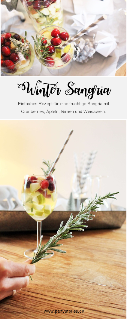 eine fruchtige Sangria im Winter? Mit diesem Rezept ganz einfach eine leckere Winter Sangria mit Weisswein, Cranberries und Äpfeln mixen, perfekt für den Advent und Weihnachten! // gefunden auf www.partystories.de // #Rezept #Bowle #Sangria #Advent