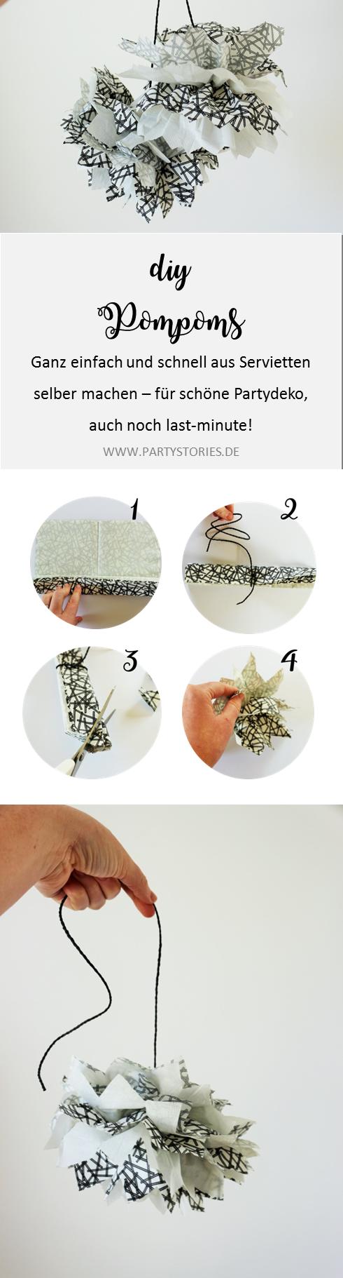 DIY PomPoms basteln - Mit dieser Schritt-für-Schritt Anleitung kannst Du PomPoms aus Servietten als Deko für die Party oder Hochzeit ganz einfach selber basteln; gefunden auf www.partystories.de