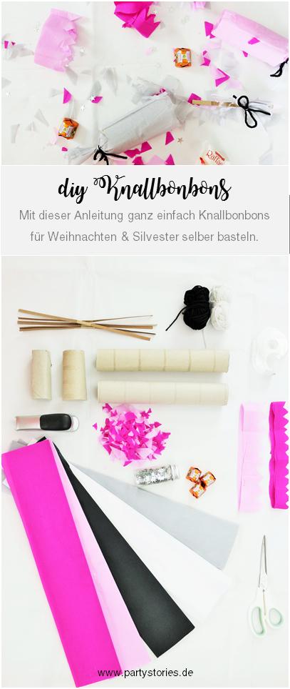 Knallbonbons selber machen - mit dieser Schritt-für-Schritt Anleitung schöne DIY Knallbonbons basteln, die nicht nur für Silvester eine schöne Deko Idee sind; gefunden auf www.partystories.de