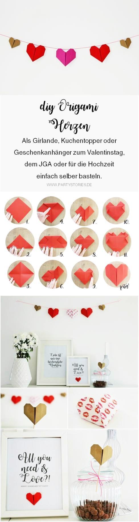 Bekannt Anleitung für DIY Origami Herz - Partystories Blog ZE89