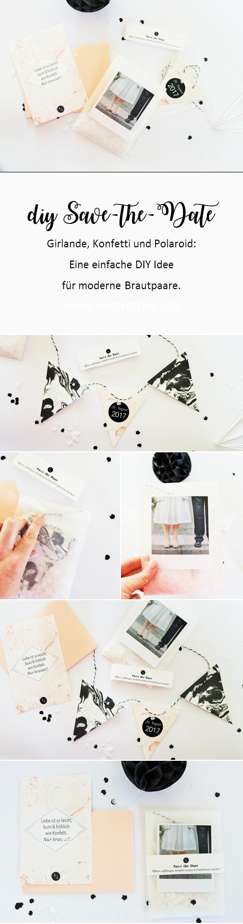 Bild: DIY Save-the-Date Ideen zum selber machen für die Hochzeit, Babyparty oder den Geburtstag gesucht? Probier's mal mit dieser DIY Alternative zur Karte: Als Girlande! gefunden auf www.partystories.de