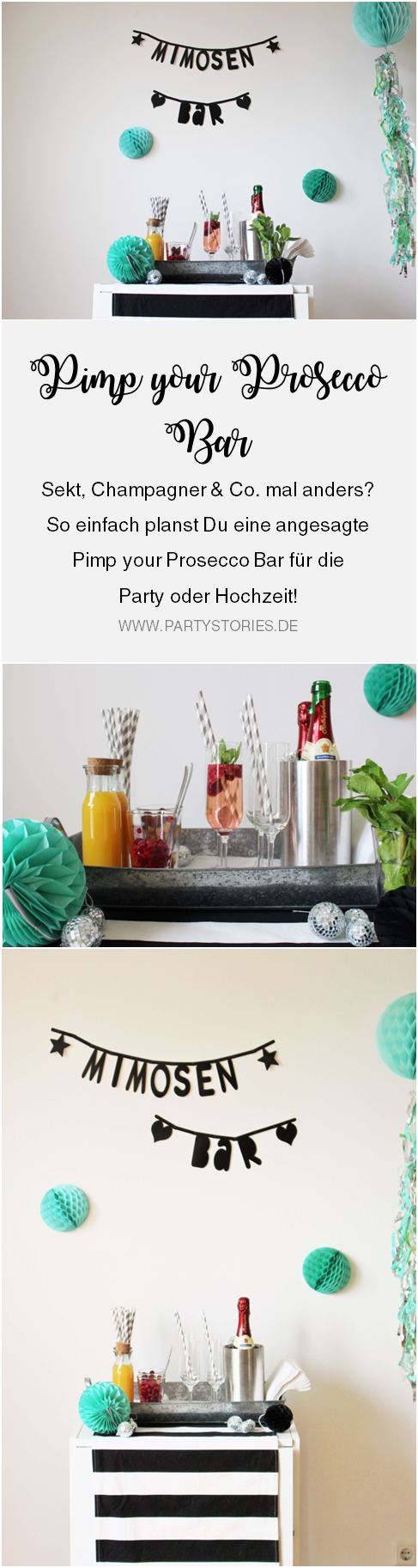 Bild: Ideen und Tipps für Sekt mal anders, als Sektbar oder Pimp-your-Prosecco Getränkestation für die Party und Hochzeit, gefunden auf Partystories.de