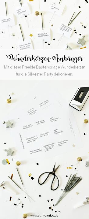 DIY Silvester Party Deko Idee - Wunderkerzen Anhänger für die Silvester Party mit dieser Freebie Bastelvorlage und Anleitung super einfach selber machen // gefunden auf www.partystories.de // #Wunderkerzen #Silvesterparty #Silvesterdeko #diydeko