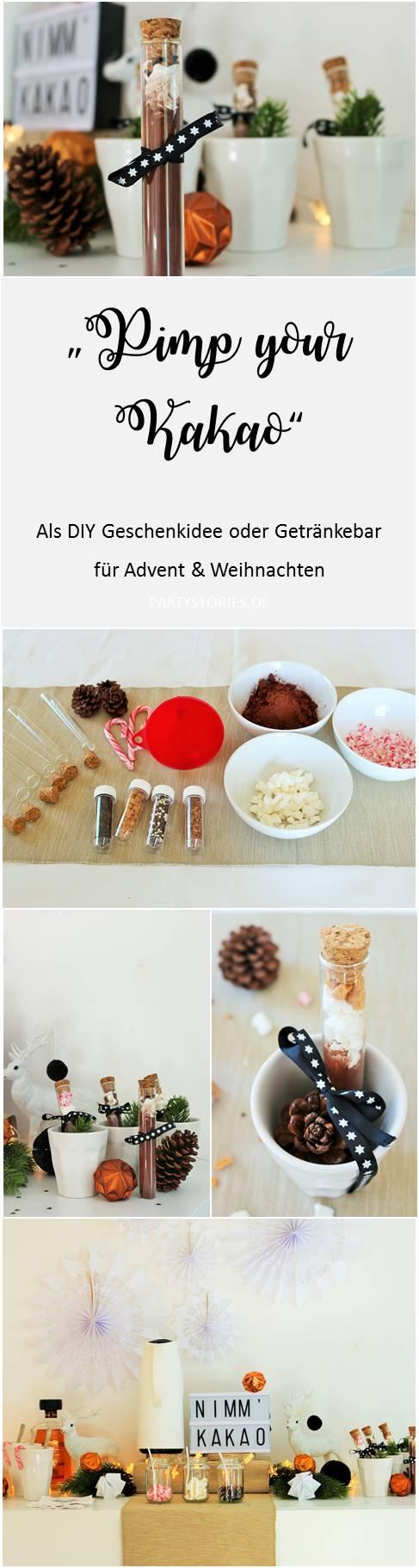 Bild: last-minute Weihnachtsgeschenk zum selber machen: gepimpter Kakao im Glas, auch als Idee für die Weihnachtsparty, gefunden auf Partystories.de