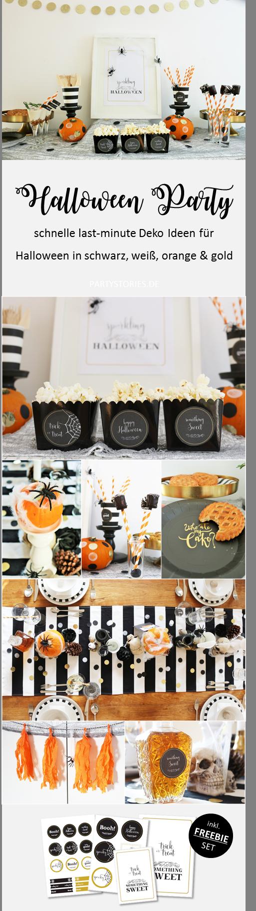 Bild: last-minute Halloween Deko Ideen in schwarz, weiß, orange und gold, ganz einfach mit dem Freebie basteln, gefunden auf Partystories.de