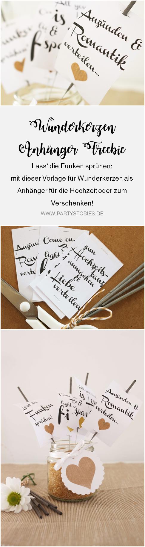 Vorlage für Wunderkerzen Anhänger als Freebie Vorlage für die Hochzeit oder zum Verschenken; gefunden auf www.Partystories.de