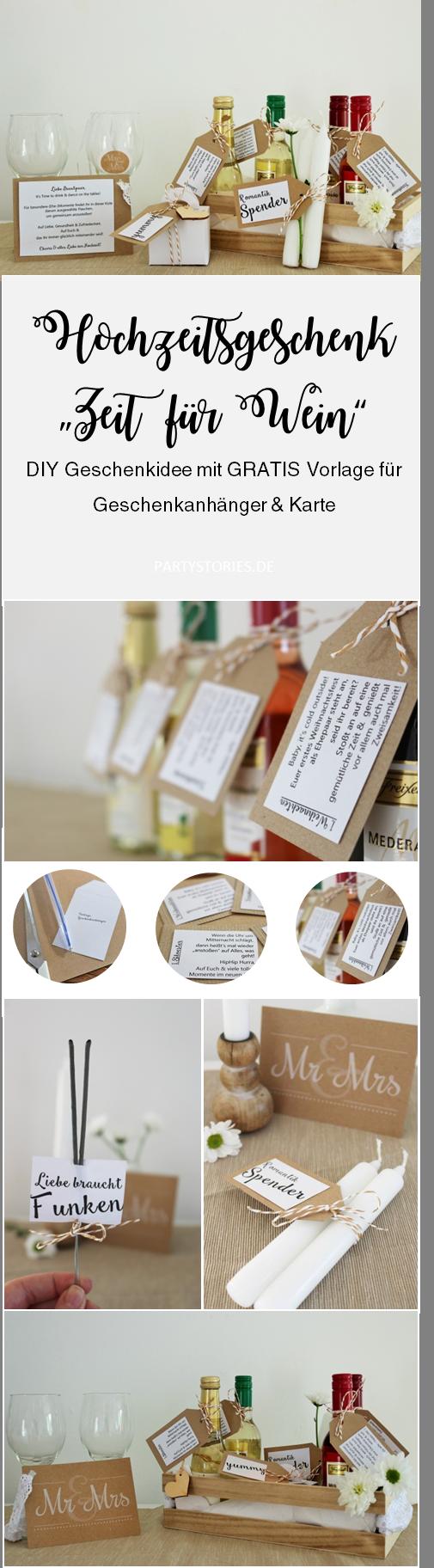 """Bild: Zitat """"Time for Wine"""", schöne DIY Geschenkidee mit Wein zur Hochzeit samt Freebie/Printable für Geschenkanhänger von www.partystories.de"""