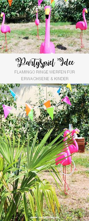 Flamingo Ringe werfen Party Spiel Idee – das #Partyspiel für Erwachsene und Kinder, perfekt für eine #Sommerparty, #Gartenparty, #Grillparty oder den #Geburtstag im #Garten! Jetzt auf www.partystories.de entdecken