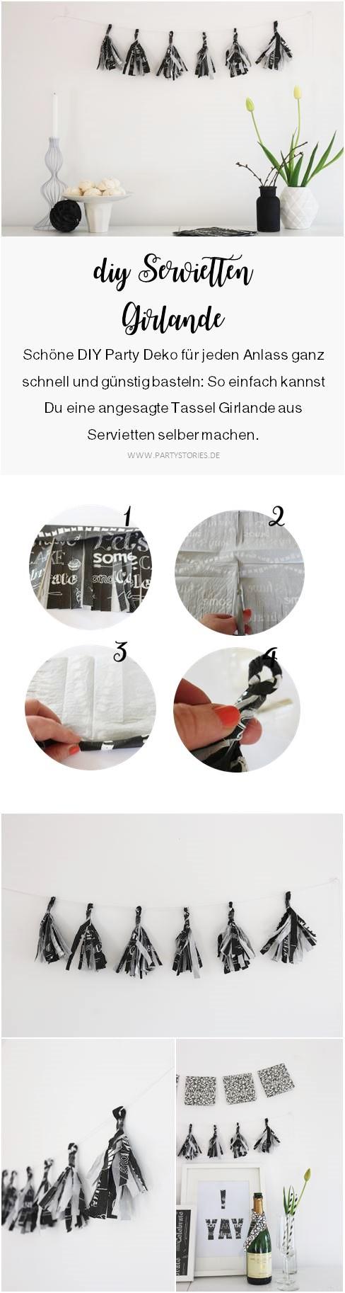 Bild: Schnelle Girlande zum selber basteln? Probier's mit dieser DIY Tassel Girlande aus Servietten als Partydeko, gefunden auf www.partystories.de