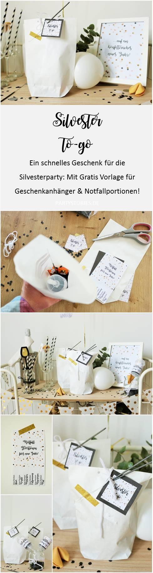 Bild: eine schnelle DIY Geschenk Idee für Silvester und die Silvesterparty, Silvester to-go - mit Glückskeksen, Wunderkerzen, Konfetti und Mitternachtsküsschen, gefunden auf www.Partystories.de