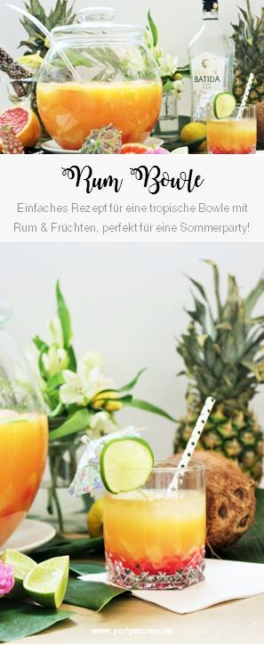 Rezept für eine tropische Bowle mit Rum und Früchten wie Ananas – so einfach geht eine leckere Rum Bowle mit Mangaroca Batida com Rum für die Sommer Party, Rezept von partystories.de // Artikel enthält Werbung
