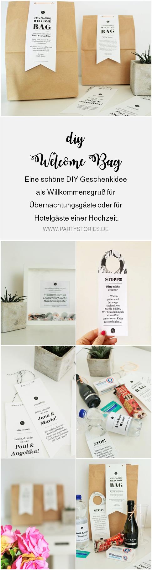 Bild: DIY Geschenk Idee für Übernachtungsgäste und Hotelgäste einer Hochzeit - Finde viele Ideen für individuelle Welcome Bags als Gastgeschenk; gefunden auf www.partystories.de