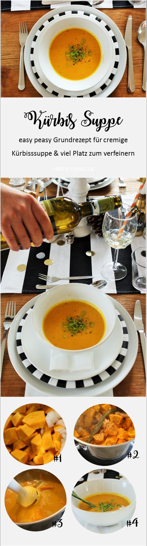 Bild: einfaches Rezept für cremige Kürbissuppe mit Orangensaft, gefunden auf Partystories.de