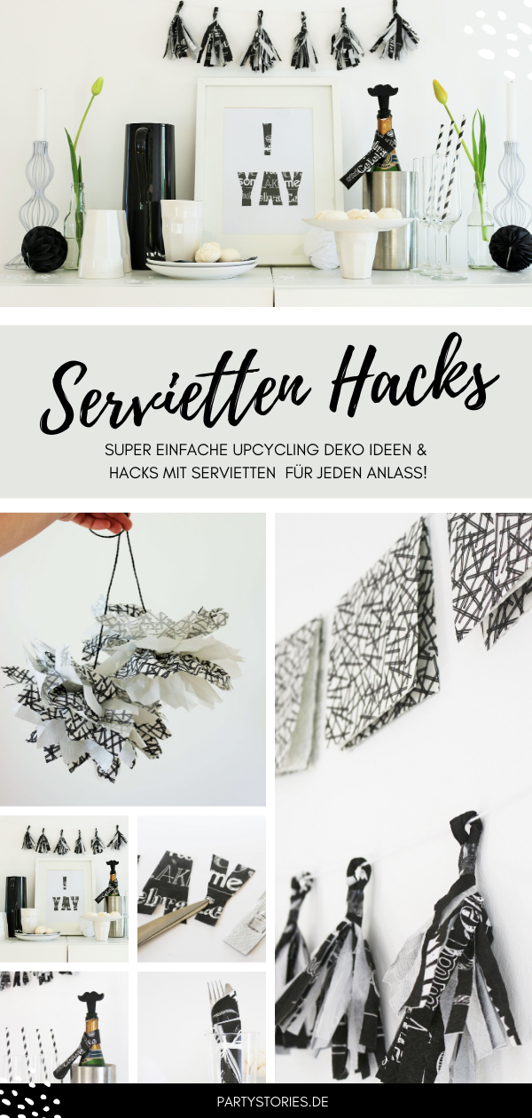 Bild: DIY Party Deko mit Servietten, so einfach kannst Du Deko für eine Party aus Servietten selber machen, gefunden auf www.partystories.de