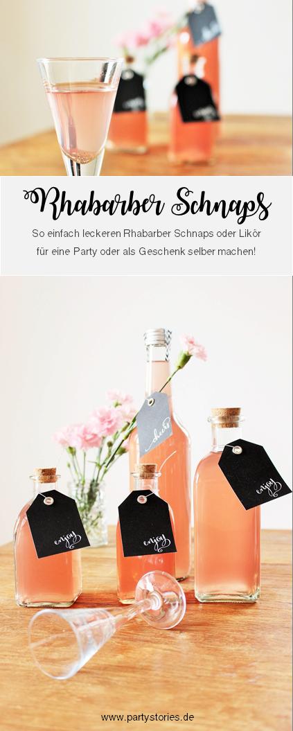 Bild: Frühlingsrezepte mit Rhabarber? Wie wäre es mit selbstgemachtem Rhabarber-Schnapps? Eine schnelle DIY Geschenkidee, lecker und für jeden Anlass! Gefunden auf www.partystories.de