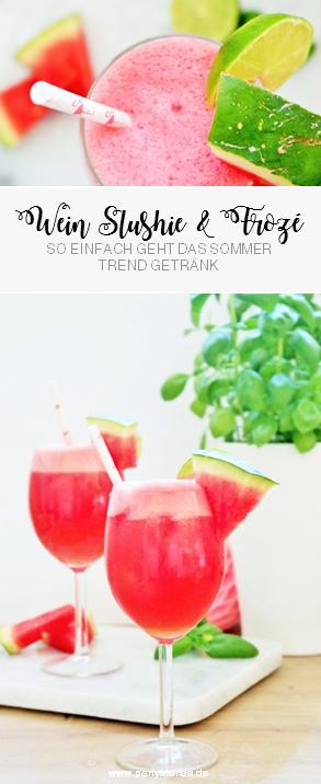 Leckeres Wein Slushi Rezept: So einfach das Sommer Trendgetränk aus Weisswein oder Roséwein mit Früchten wie Wassermelone selber mixen, perfekt für alle, die Wein mal anders servieren wollen! Rezept und Anleitung auf Partystories.de entdecken!
