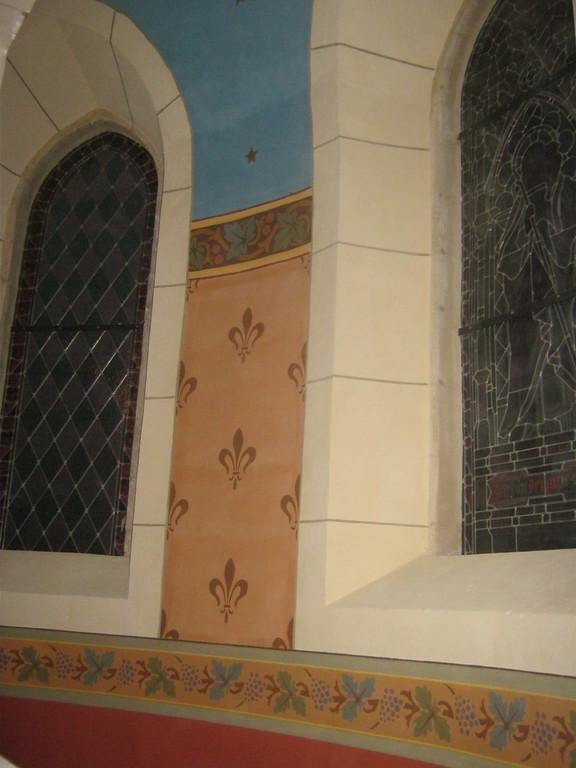 Dorfkirche Poserna Rekonstruktion historistische Schablonenmalerei Apsis