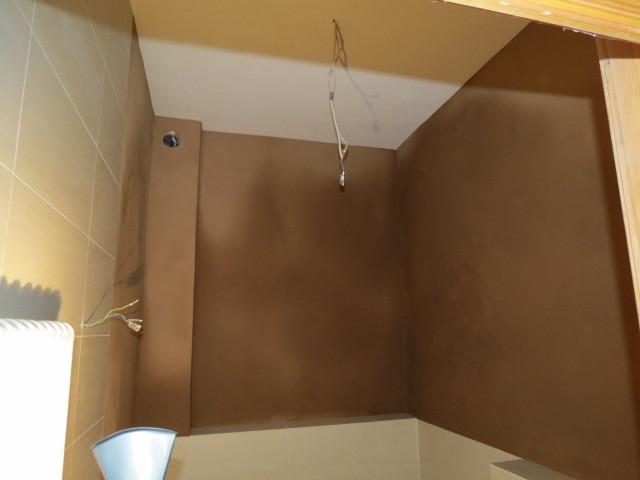 Decke Kalkputz mit Silikatanstrich, Wände Lehmputz gefilzt(noch frisch)