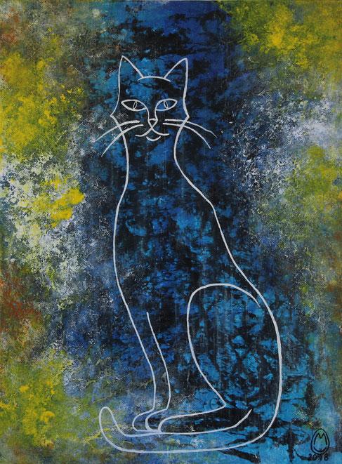 """""""Le chat bleu""""-acrylique sur toile-58*78-2018-400€-location/mois:10€"""