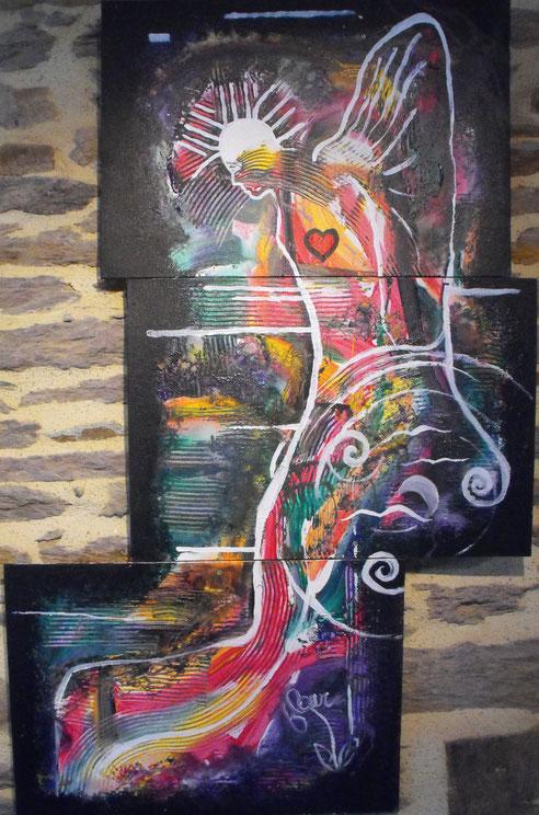 """""""Archange""""-acrylique sur carton-114*73-2016-400€-location/mois:10€"""