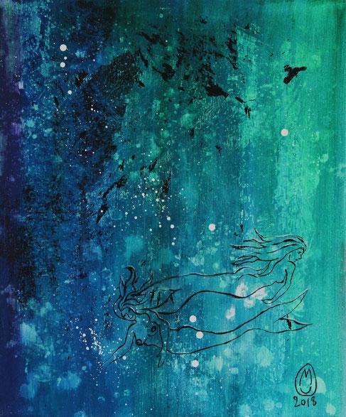 """""""Les sirènes de l'étang bleu de Paimpont""""-acrylique sur toile-54*65-location/mois:10€-2018-430€"""