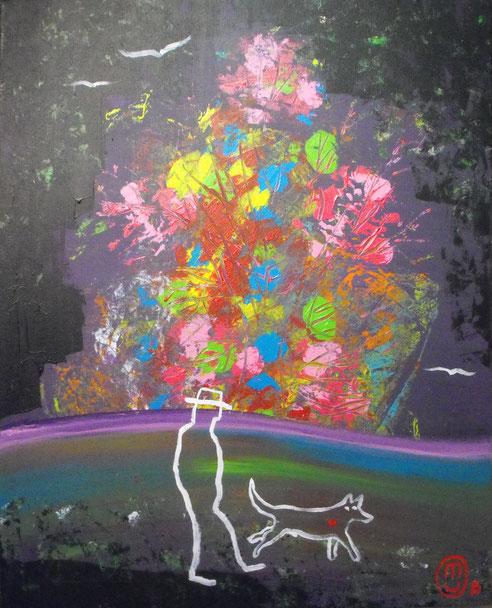 """Beautiful ballade""-acrylique sur toile-65*81-2016-500€-location/mois:10€"